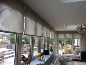 Fret motorized roller blinds fitted by blind and curtain company in Tewkesbury