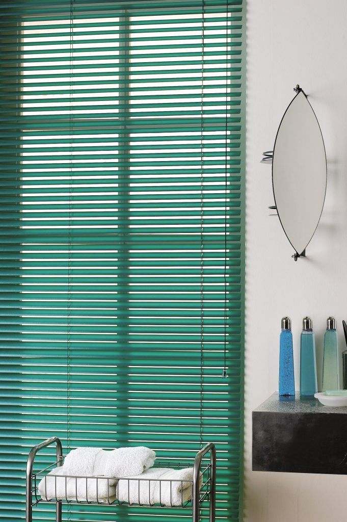 Green venetian blinds from curtain and blind specialist in Gloucestershire