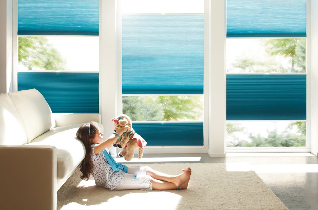 Blue Dueet Blinds from blind company based in Gloucestershire