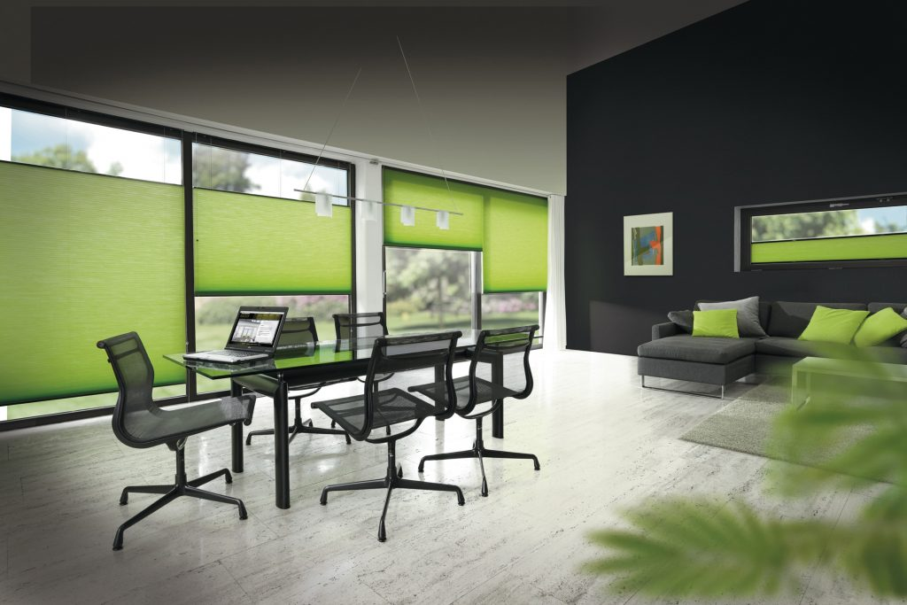 Lime Green Duette Blinds Blinds from blind company based in Gloucestershire