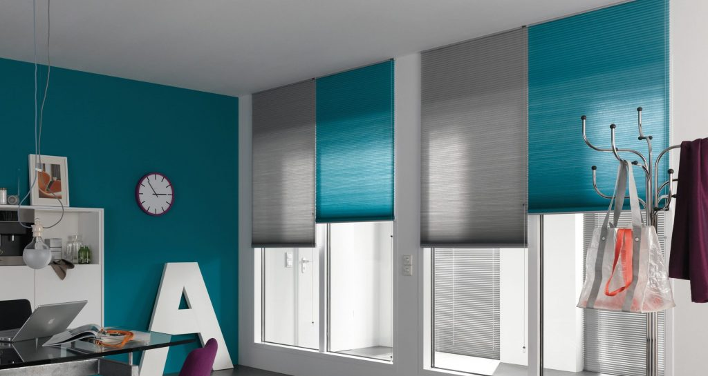 Blue and grey blinds from blinds and curtain company in Gloucestershire