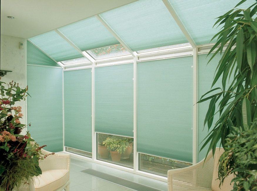 Green Duette blinds from blind company in Tewkesbury