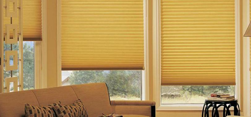 Yellow Duette Blind Blinds from blind company based in Gloucestershire