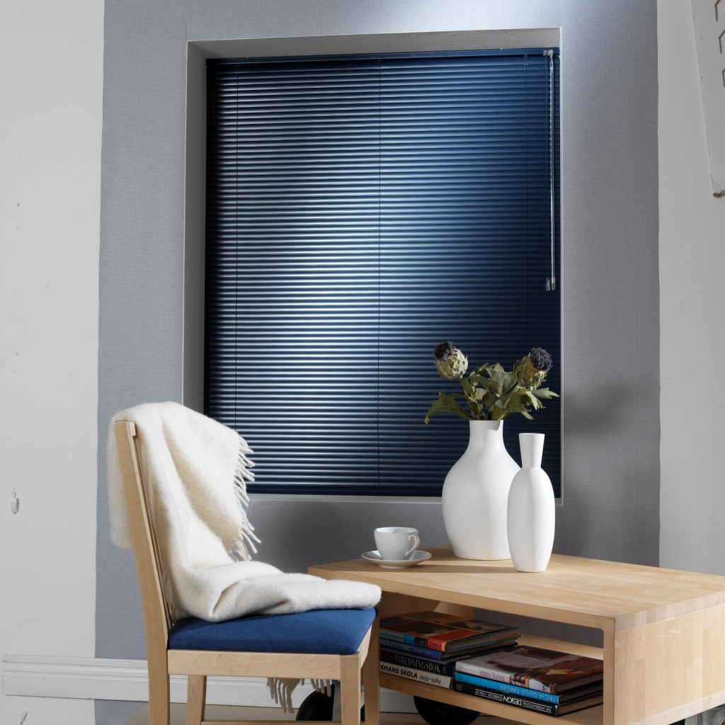 Blue venetian blinds from curtain and blind specialist in Gloucestershire
