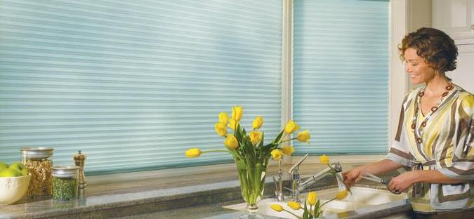 Light blue duette blinds from blind company in Tewkesbury