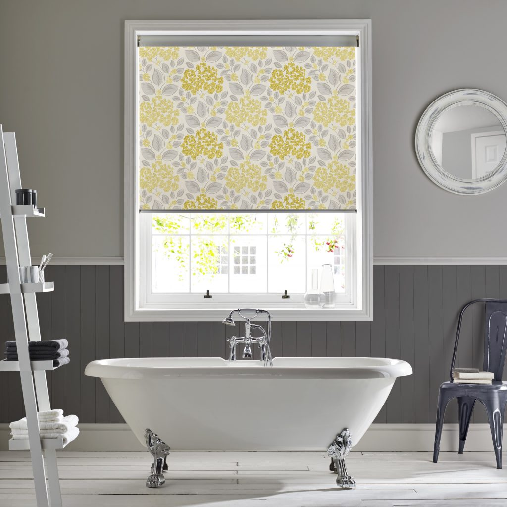 Hydrangea Primrose Roller Blind from blind and curtain company based in Tewkesbury