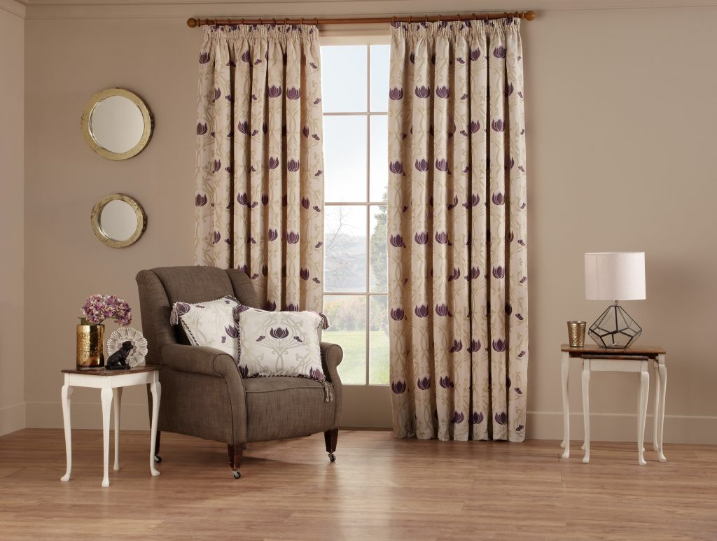Chatsworth Plum Scandi Fabric from curtain and blind company in Tewkesbury