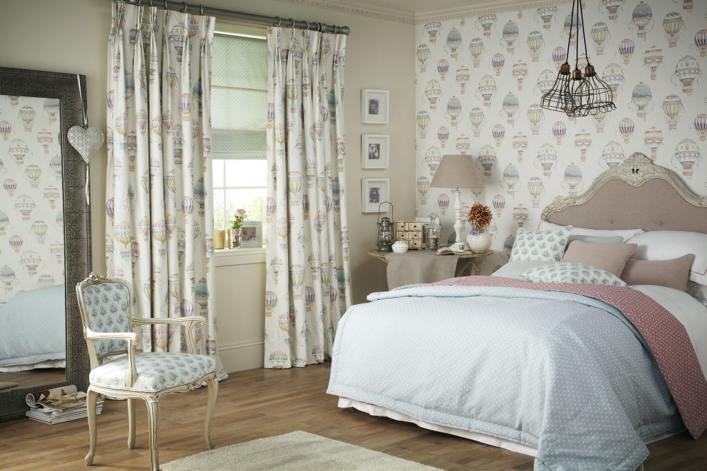 Floral Cariba curtain material from Tewkesbury based blind and curtain company