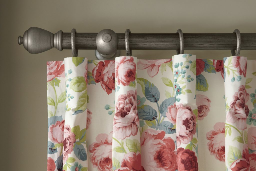 Floral fabric by laskeys blind and curtain company